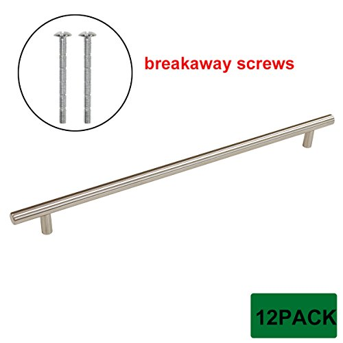 Probrico T Bar Cabinet Pulls Stainless Steel Kitchen Handles Wholesale 12-4/5 Inch Hole Spacing 12 Packs with Breakaway - Hinges Break Away