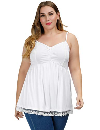Casual Plus Size Sleeveless Lace Trim Ruffled Mesh Badydoll Cami Tops White - Mesh Cami Trim Lace