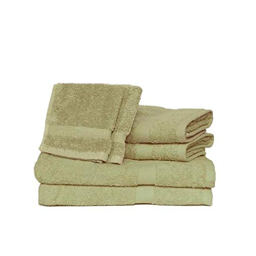 6 Piece Fluffy Terry Bath Towels Set, Novelty Stitch Dobby Border Modern Style Solid Color Sage Green Beach Towel Antimicrobial Technology Elegant Smell Fresh Hand Towels Best Uses Pool Morning ()