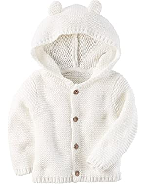 Baby Textured Bear Hoodie Ivory 3 Months
