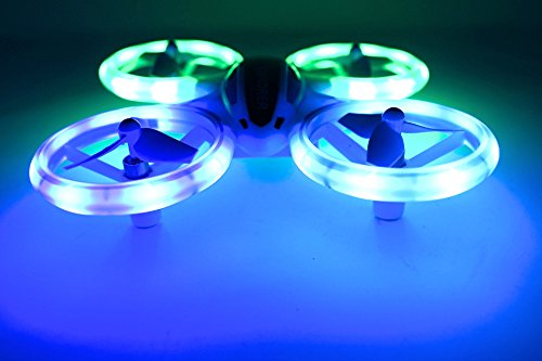 Super Bright Mini Drone UFO RC Quadcopter 2.4G 4CH 6 Axis with Headless Mode and ONE Button Key Return Home Switch Fantastic LED Lights for Night time Flying Great Drone For Kids 14+