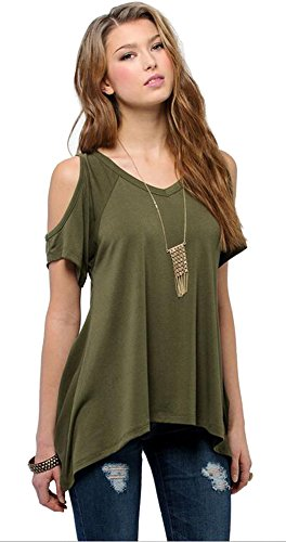 - Urban CoCo Women's Vogue Shoulder Off Wide Hem Design Top Shirt - XXX-Large - Army Green
