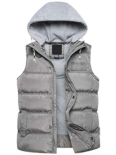 SEFON Men's Winter Thicken Puffer Cotton Vest Sleeveless Jacket Gilet with Removable Hood (XL,Grey) ()