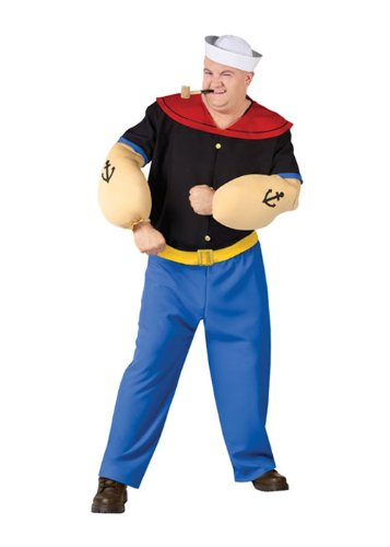 FunWorld Men's Popeye Costume-Plus, Black and Blue, Plus Size -