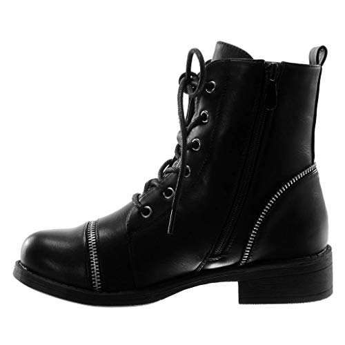 3 Booty Fashion Block Combat cm Laces Rock Black Biker 5 Shoes Boots Ankle Zip Boots Women's Heel Angkorly 1X5w7xq6x