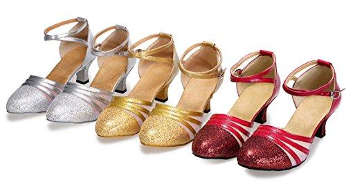 Tda Donna Comfort Punta Chiusa Tacco Medio Glitter Sintetico Salsa Tango Samba Moderno Scarpe Da Ballo Latino 6 Cm Rosso