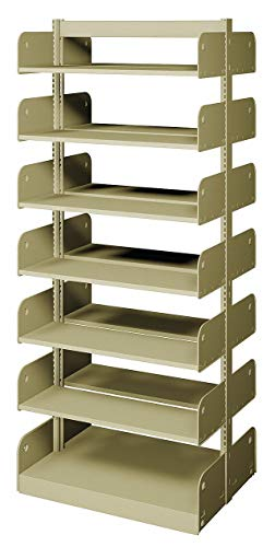Shelving Face Starter - 36' x 20' x 84' Double Face Starter Flat Library Shelving with 14 Shelves, Ch/Putty
