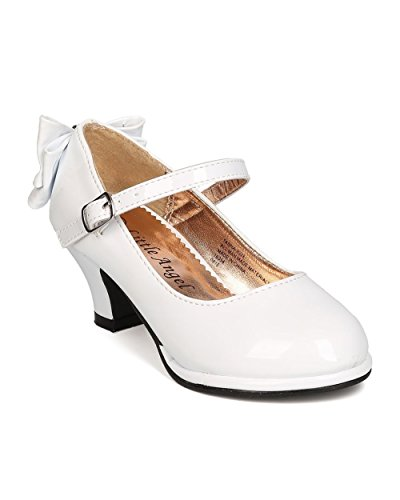 Girls Patent Leatherette Back Bow Tie Mary Jane Kiddie Heel GB48 - White (Size: Big Kid 4)