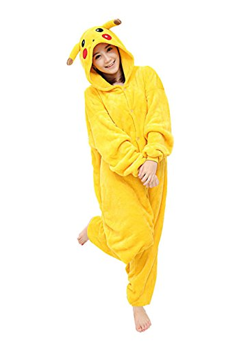 Yimidear Unisex Adult Pajamas Cosplay Costume Pikachu Onesie Sleepwear,Yellow,Medium
