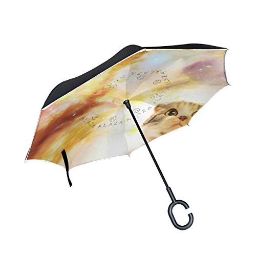 Ladninag Reverse Umbrella Who Your Spirit Animal Inverted Umbrella Reversible for Golf Car Travel Rain Outdoor Black