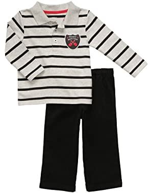 Carter's Baby Boys' Mommy's Rock Star Long Sleeve Polo Pant Set