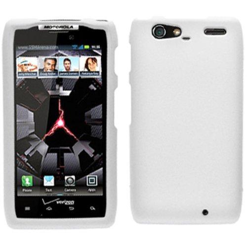 (White Rubber Hard Rubberized Case Cover For Motorola Droid Razr Maxx 912M 913 916 Razor Max with Free Pouch )