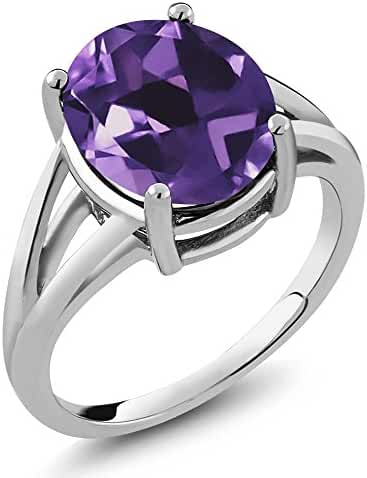 4.60 Ct Natural Amethyst Gemstone Birthstone 925 Sterling Silver Women's Ring (Oval 12X10MM, Available in size 5, 6, 7, 8, 9)