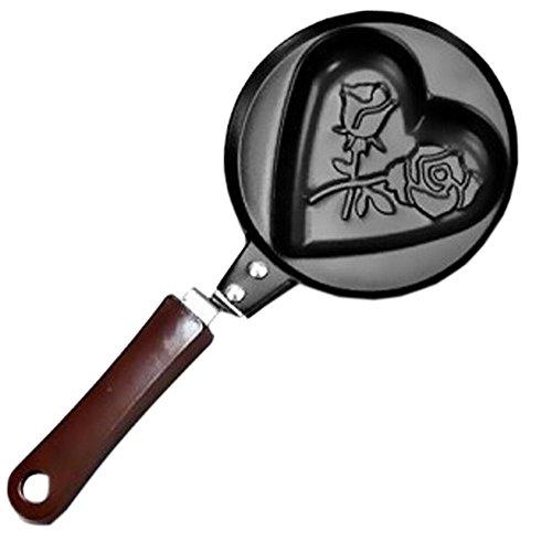 Rose&Heart Mini Poached Egg/Pancake Pan Nonstick Cast Iron Skillet(4.75.5'')