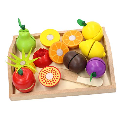 M-Aimee Wooden Fruit Cutting Food Toys - Pretend Play Food Set for Kids Play Kitchen,9 Cuttable Toy Fruit with Wooden Knif and Tray,Gift Idea for Boy Girl Birthday