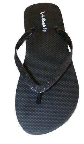 Wip-flop Met Glitterbandjes En Comportable Voetbed Zwart
