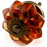 Large Amber Glass Cabinet Knobs 2 Pc Cupboard Drawer Pulls & Handles ~ K29 Large Amber Melon Style Glass Knobs with Antique Brass Hardware ~ Glass Knobs, Handles & Pulls for Dresser, Drawers, Cabinets & Vanity