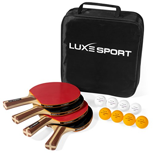 Ping Pong Paddle Set of 4 -Full Table Tennis Bundle includes 4 Ping Pong Paddles, 8 Three Star Balls, Portable Storage Travel Bag/Case - Racket Kit 2 or 4 Players - Recreational Indoor/Outdoor Games