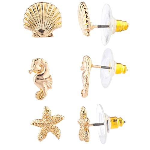 Lux Accessories Gold Tone Seashell Seahorse Starfish Tropical Nautical Earrings (Starfish Earrings Mini)