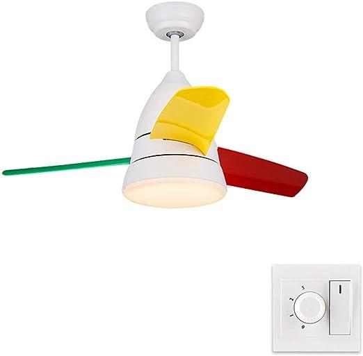 Luz del Ventilador Ventilador para niños Light Macaron Ventilador de Techo Light Restaurant Restaurant Simple Nordic Electric Fan Chandelier Lámparas (Color : White ...