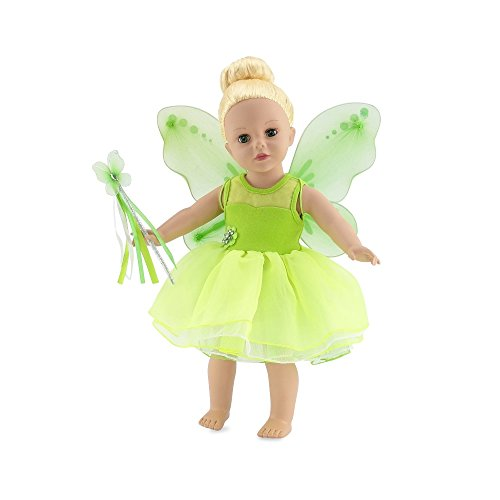 18 Inch Doll Clothes | Magical Tinker Bell Inspired Fairy Princess Doll Halloween Costume with Jeweled Accents, Removable Wings, and Tinkerbelle Magic Wand | Fits American Girl Dolls