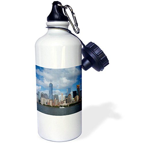 3dRose Danita Delimont - Cities - New York, New York City. Downtown cityscape with the Freedom Tower. - 21 oz Sports Water Bottle (wb_259786_1) by 3dRose