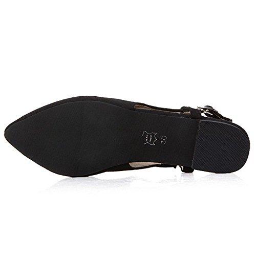 TAOFFEN Mujer Comodo Cerrado Sandalias Hebilla Correa Talon Abierto Plano Zapatos Negro