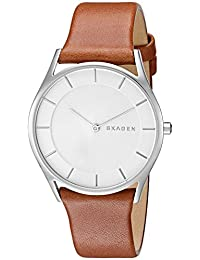 Skagen SKW2453 Reloj para Mujer Redondo, Análogo, color Blanco y Marrón