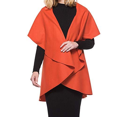 JESPER Womens Ladies Irregular Drape Lapel Cloak Ponchos Warm Cardigan Short Sleeve Coat ()