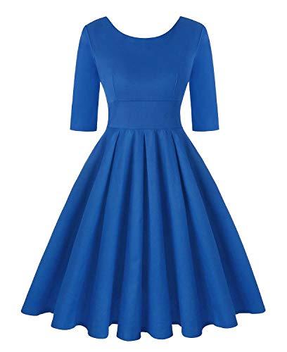 Tea Line (ROOSEY Women's 3/4 Sleeve Swing Dress 1950s Vintage Retro A Line Tea Dress - 44Blue,XXL)