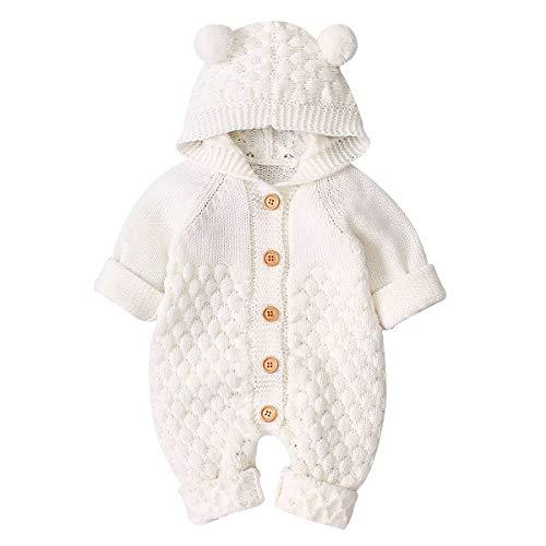 puseky Romperoverall van pasgeboren babymeisje met capuchon, eendelige bodysuit-bovenkleding, beige, 6-12 Maanden