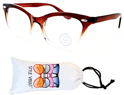 (E27-vp Style Vault Clear Lens Cateye Eyeglasses (S3231V Crystal Brown/Clear-Clear, clear))