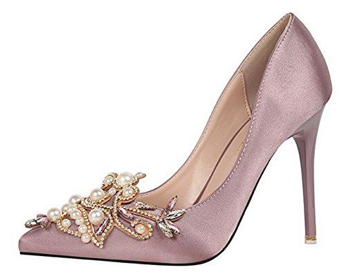 Vestido De Satén Rhinestone Atractivo De Las Mujeres De Aisun Stiletto High Heels Slip On Pointy Toe Bombas Zapatos Púrpura