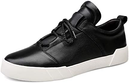 男性のスケート靴のためのファッションスニーカー本革耐摩耗アンチスキッドロートップステッチラウンドトゥカジュアルビーガンプラットフォームレースアップ YueB HAC (Color : ブラック, サイズ : 25 CM)