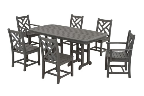 Chippendale 7-Piece Dining Set, Slate Grey ()
