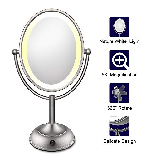 Lighted Makeup Mirror, LED Makeup Mirror with Magnification, 5X Magnifying Makeup Mirror, Natural Soft LED Light, 360 Degree Rotation, Battery Operated or AC Adapter, 8