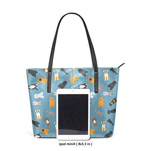Coosun verschiedene Hunde Breed Pattern PU Leder Schultertasche Handtasche und Handtaschen Tasche für Frauen