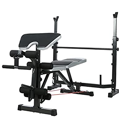 Olympic Wider Weight Bench Set for Home Gym Workout Power Training Exercising, Adjustable Bench Seat with Barbell Rack