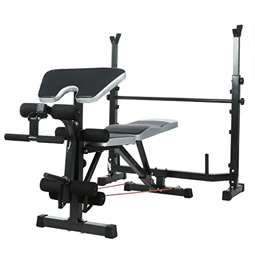 Olympic Wider Weight Bench Set for Home Gym Workout Power Training Exercising, Adjustable Bench Seat with Barbell Rack by Evokem