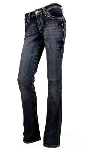 Crystal Pocket Stretch Jeans (La Idol Women Bootcut Jeans Crystal Fleur Flap Pocket Stretch in Blue)