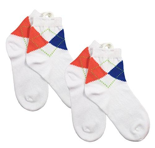 Sport Argyle Anklets-Arthritis Socks (White)