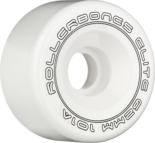 RollerBones Art Elite 101A Competition Roller Skate Wheels (Set of 8), White, 57mm