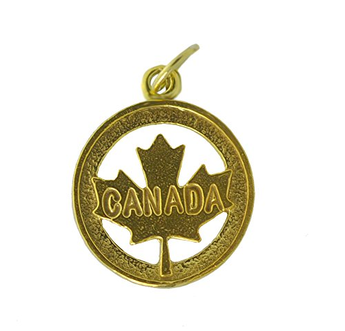 Yellow 24K Gold plated real silver Canada Day birthday July 1 Maple Leaf charm