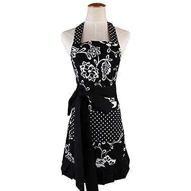Surblue 100% Organic Cotton Reusable Women Hem Apron with Two Pocket, Extra-Long Tie (Black)