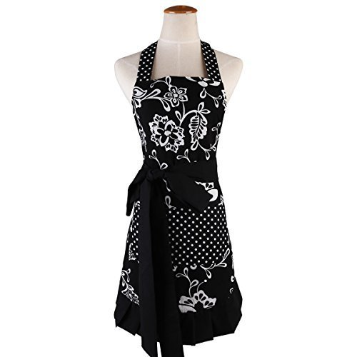 Surblue 100% Organic Cotton Reusable Women Hem Apron with Two Pocket, Extra-Long Tie (Black)