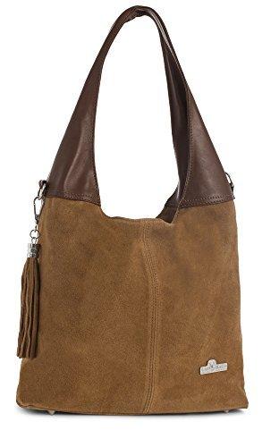 LiaTalia Womens Girls Genuine Italian Suede and Soft Leather Hobo Shopper Shoulder Tote Handbag - Agnes [Medium Tan - Brown Trim]