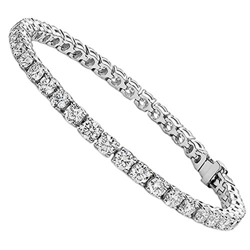 (Jade Marie Fabulous Silver Tennis Bracelet with CZ Crystals, Beautiful 18k White Gold Plated Wrist Bracelet with Round Cut Cubic Zirconia Stones (Silver) )