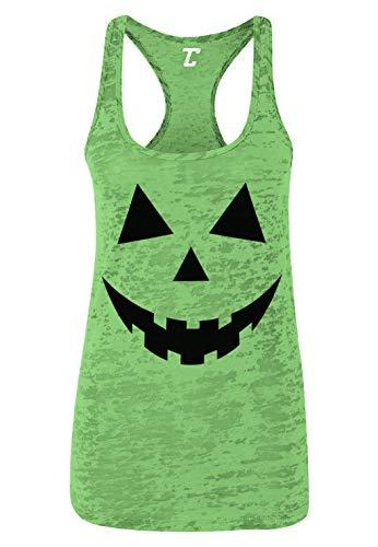 Pumpkin Face - Halloween Costume Women's Racerback Tank Top (Kelly Green, -