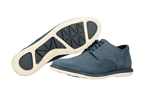 Clarks Glaston Walk Hombres Derby Zapatos Navy Nubuck