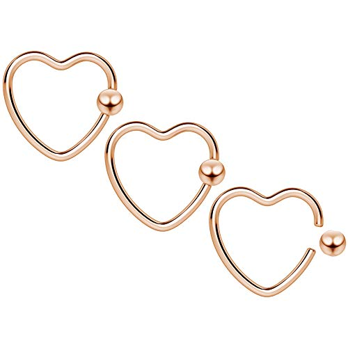 3pc 16g Heart Hoop Earring CBR Captive